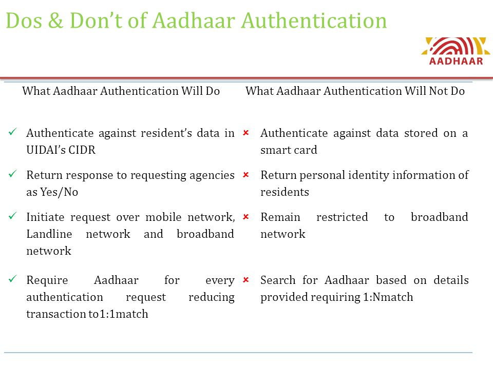 Dos & Don't of Aadhaar Authentication