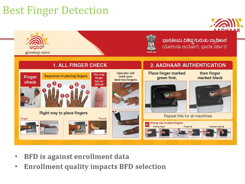 Best Finger Detection BFD is against enrollment data