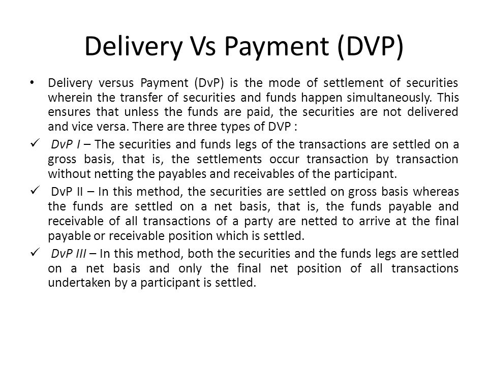 Delivery Vs Payment (DVP)
