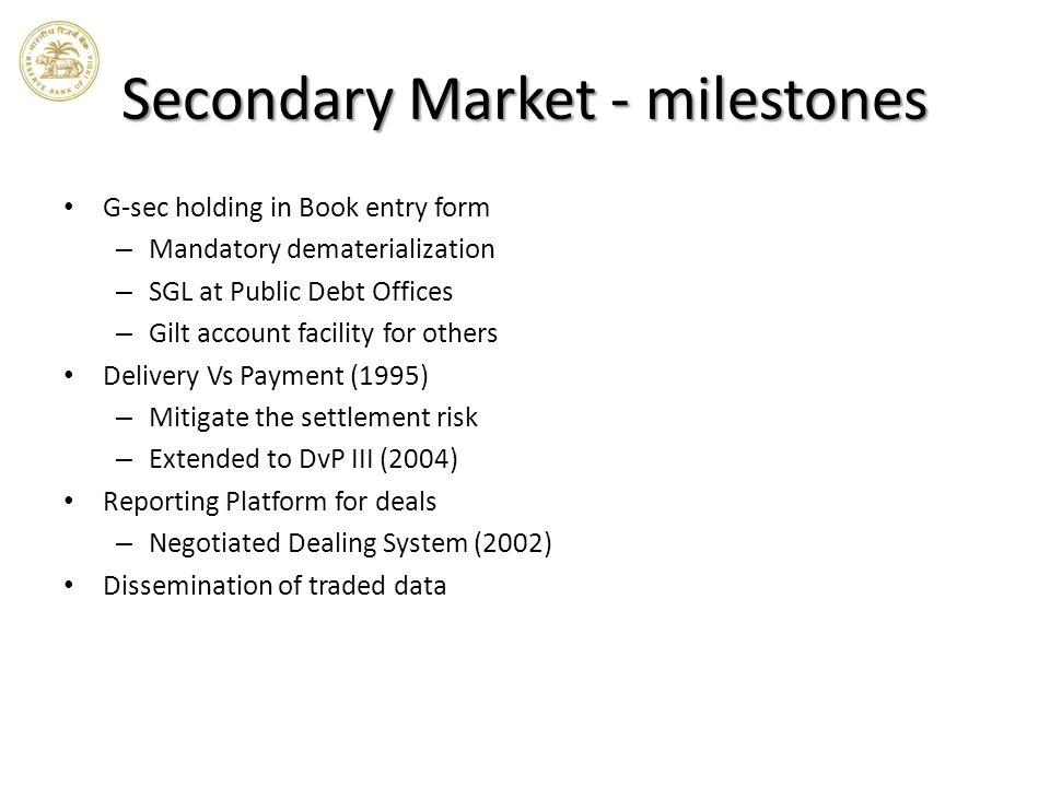 Secondary Market - milestones
