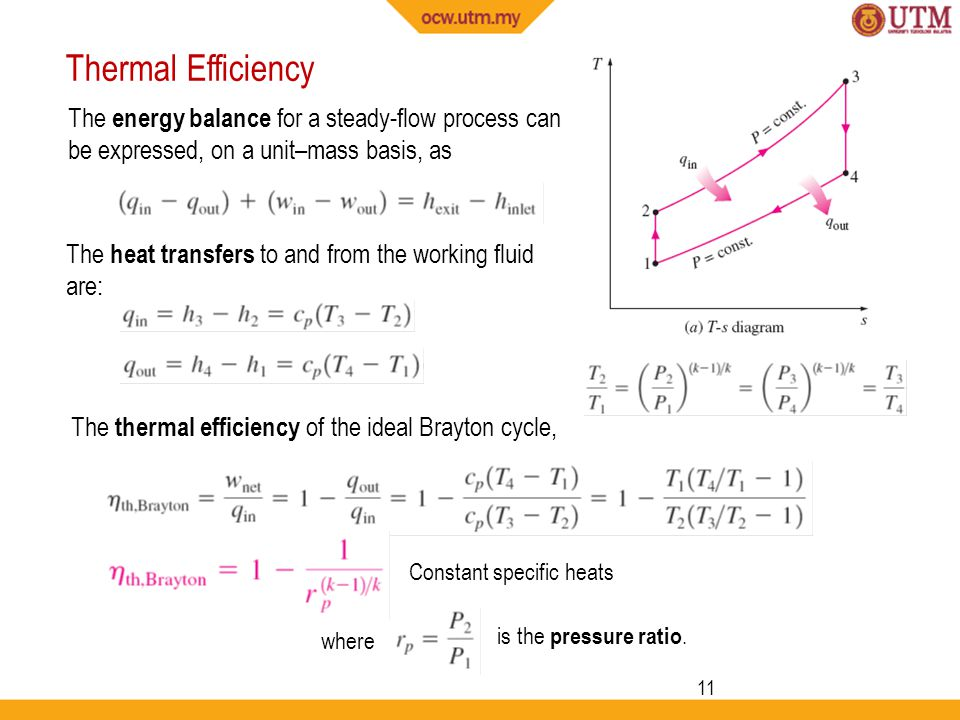 Thermal Efficiency The energy balance for a steady-flow process can be expressed, on a unit–mass basis, as.
