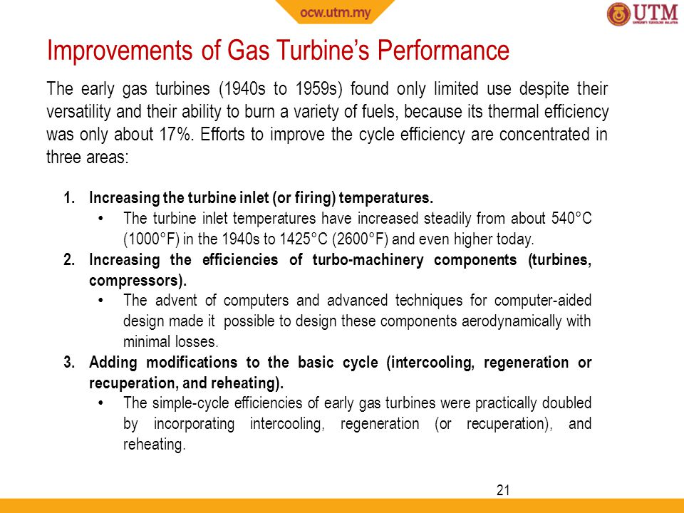 Improvements of Gas Turbine's Performance