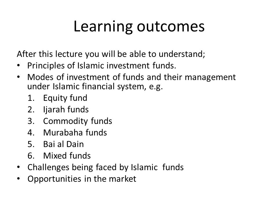 Learning outcomes After this lecture you will be able to understand;