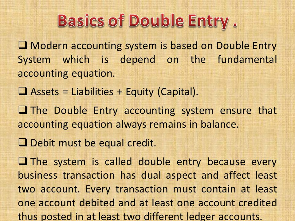 Basics of Double Entry . Modern accounting system is based on Double Entry System which is depend on the fundamental accounting equation.