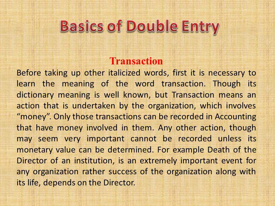 Basics of Double Entry Transaction