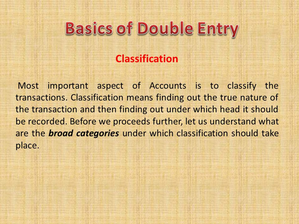 Basics of Double Entry Classification