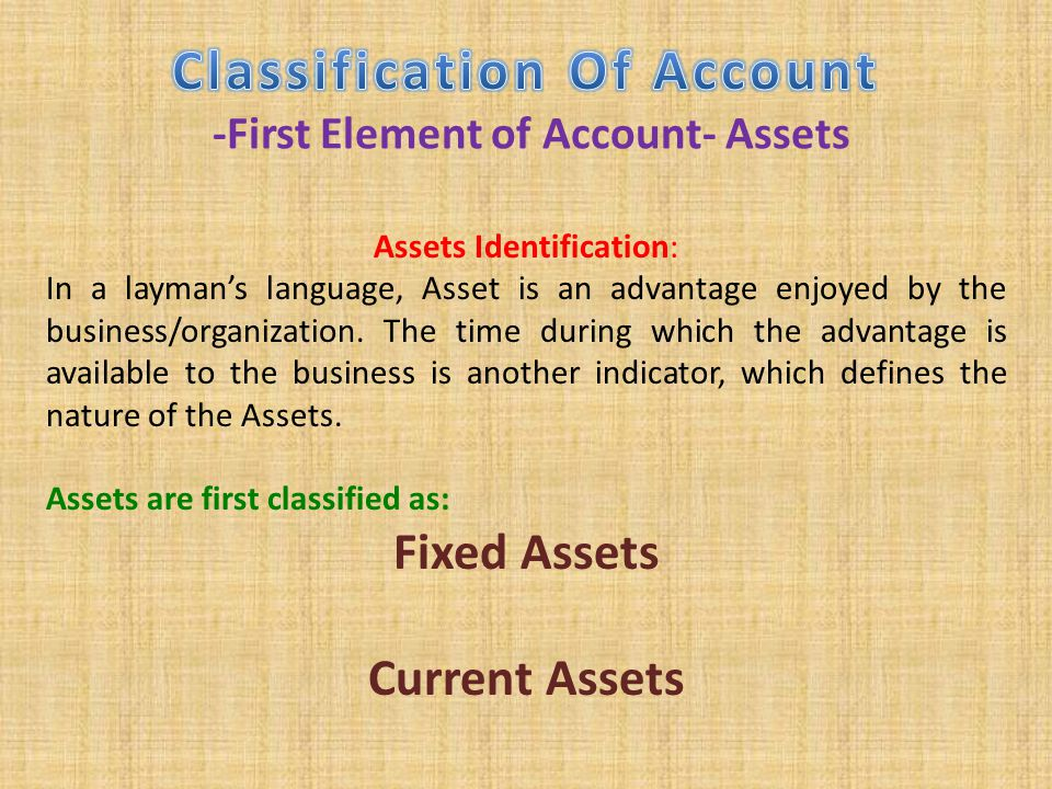 Classification Of Account -First Element of Account- Assets