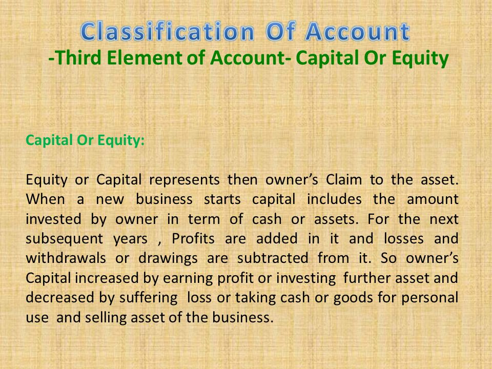 Classification Of Account -Third Element of Account- Capital Or Equity