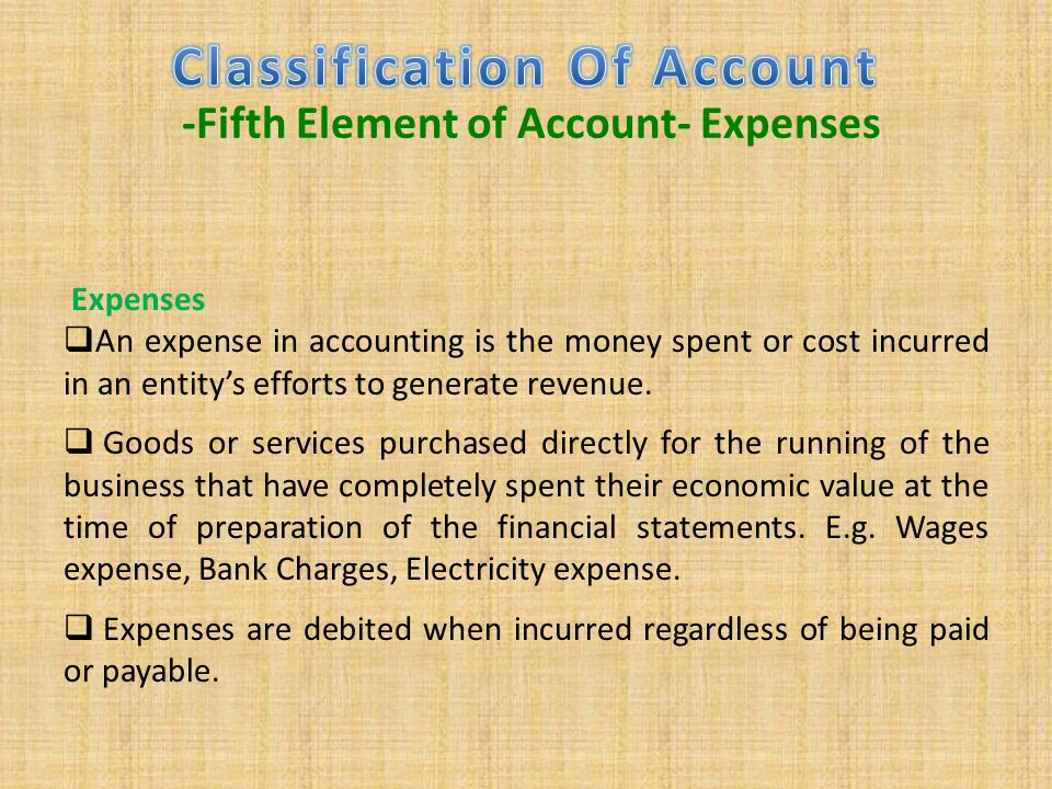 Classification Of Account -Fifth Element of Account- Expenses
