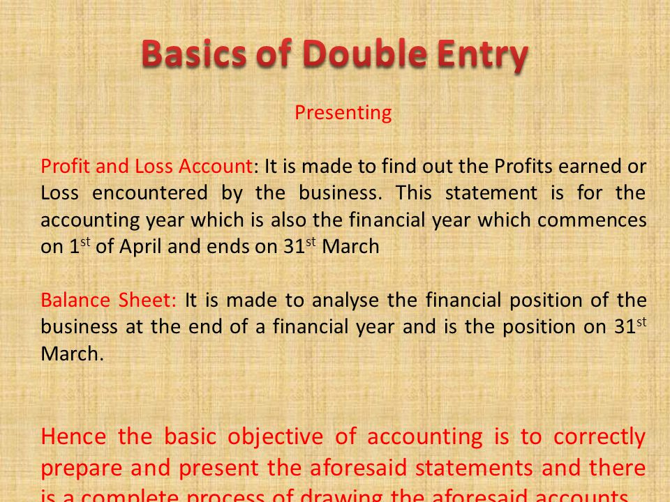 Basics of Double Entry Presenting.