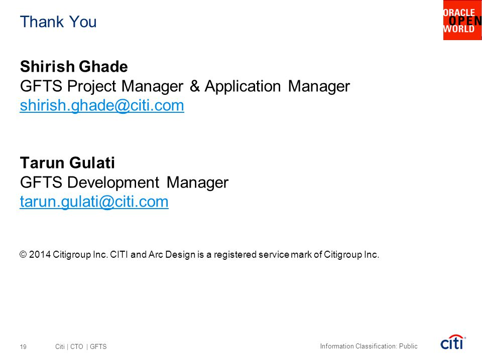 GFTS Project Manager & Application Manager shirish.ghade@citi.com