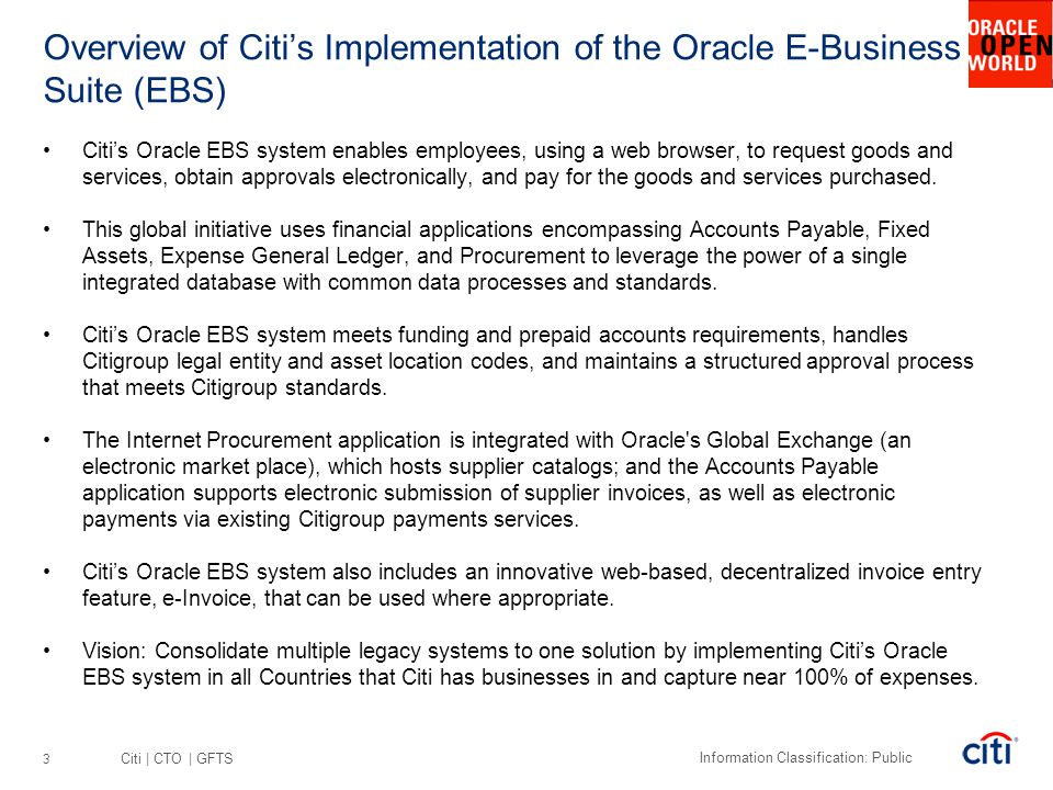 Overview of Citi's Implementation of the Oracle E-Business Suite (EBS)