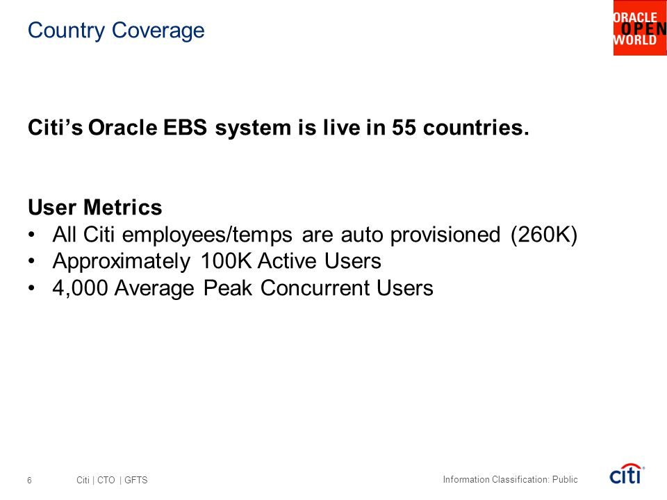 Country Coverage Citi's Oracle EBS system is live in 55 countries. User Metrics. All Citi employees/temps are auto provisioned (260K)