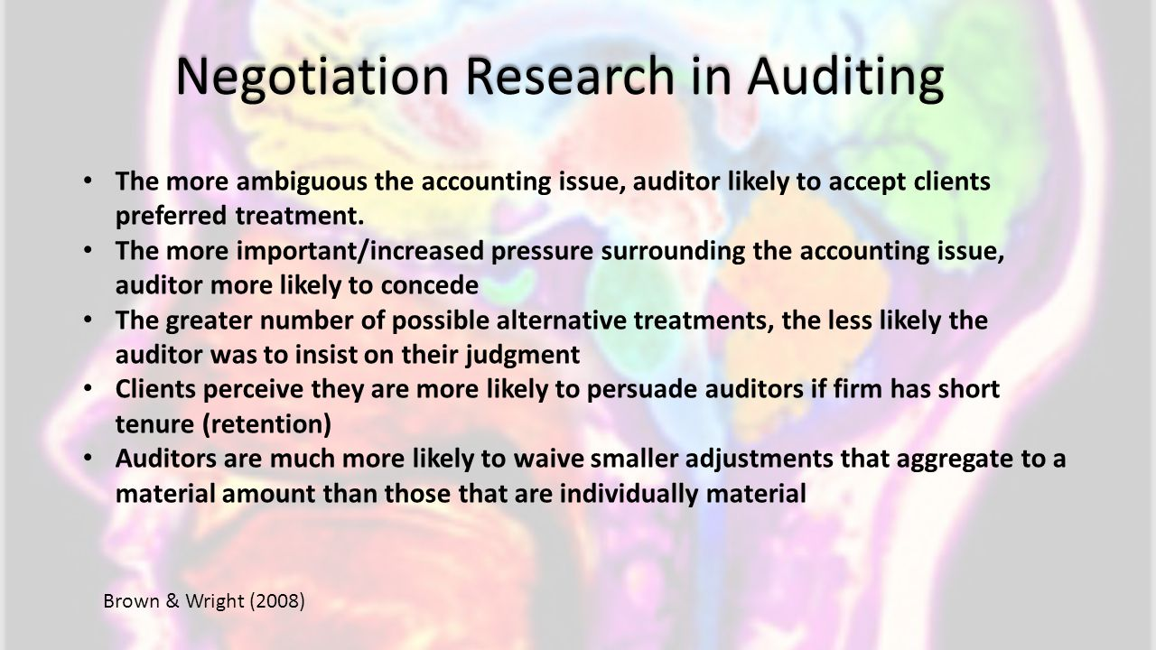 Negotiation Research in Auditing
