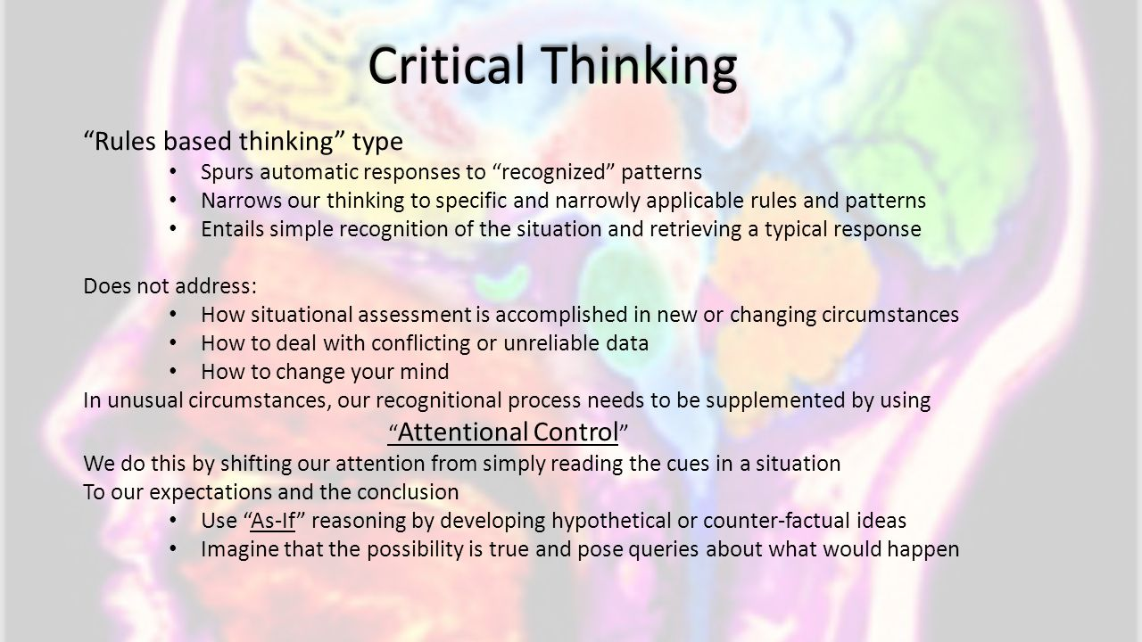 Critical Thinking Rules based thinking type