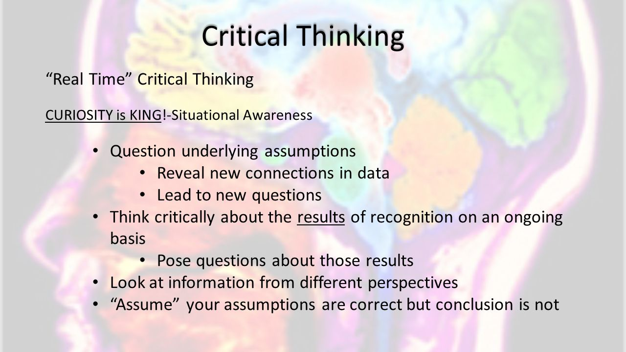 Critical Thinking Real Time Critical Thinking