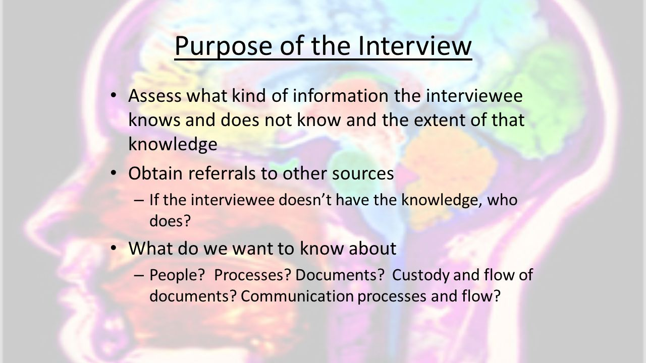 Purpose of the Interview