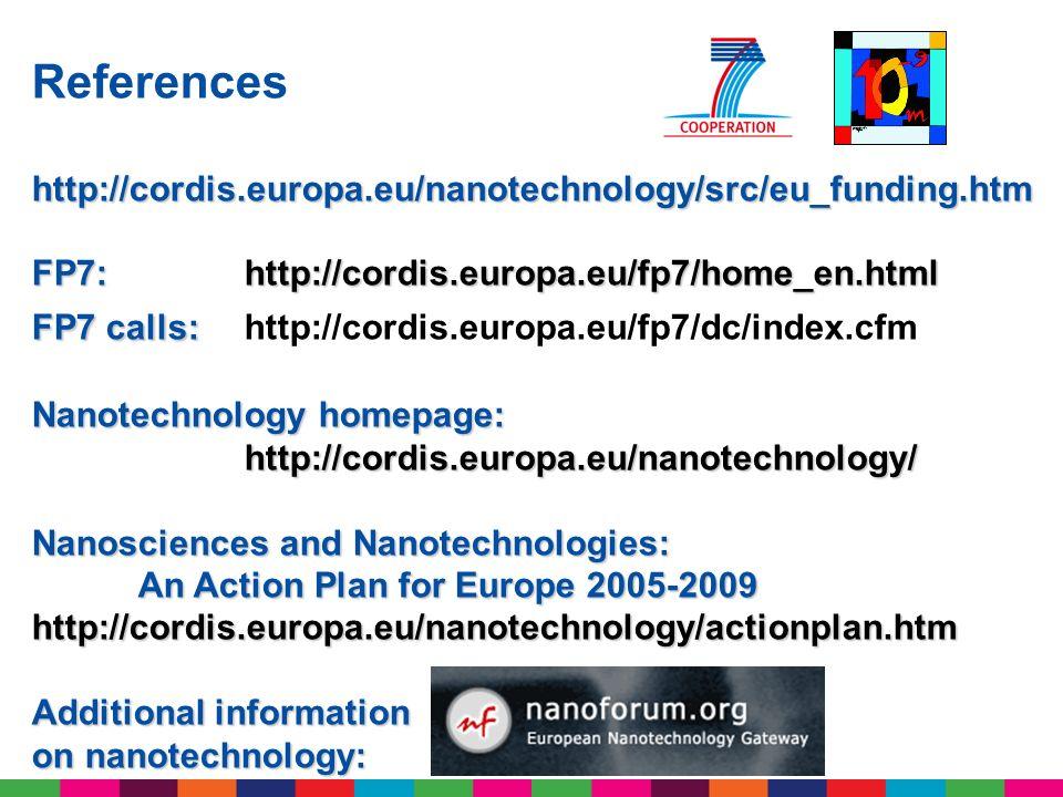 References http://cordis.europa.eu/nanotechnology/src/eu_funding.htm