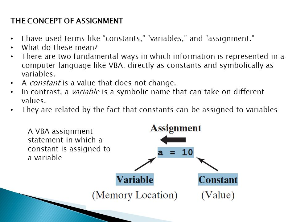 THE CONCEPT OF ASSIGNMENT