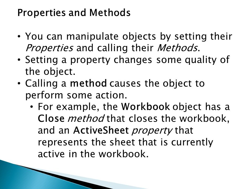 Properties and Methods