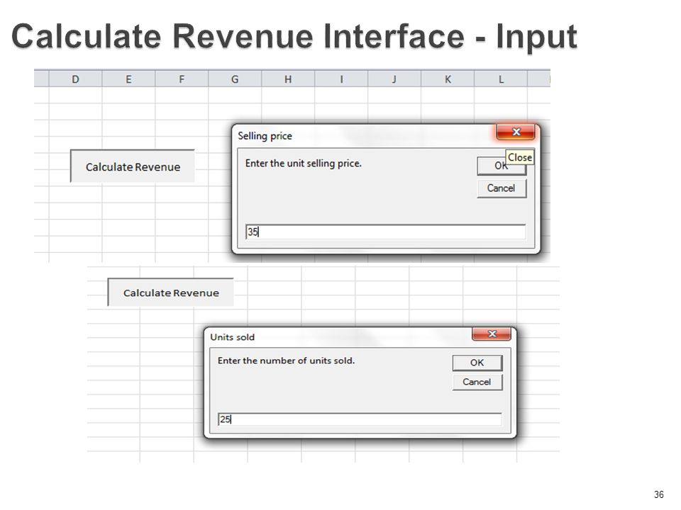 Calculate Revenue Interface - Input