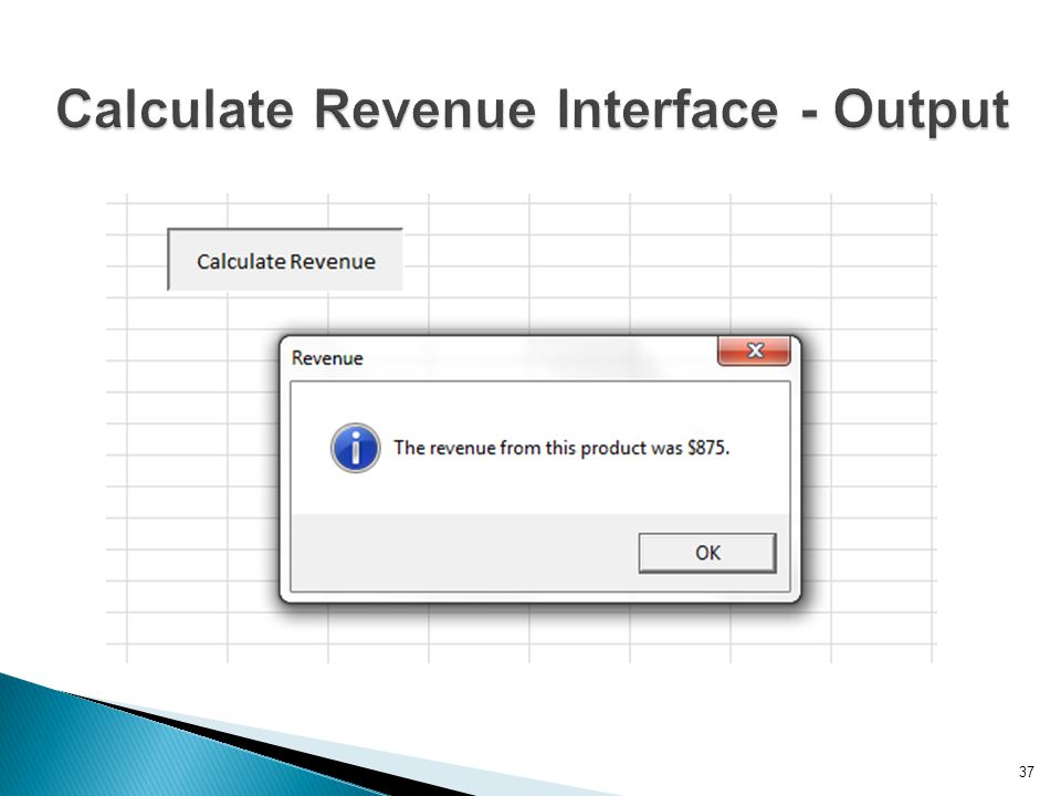Calculate Revenue Interface - Output