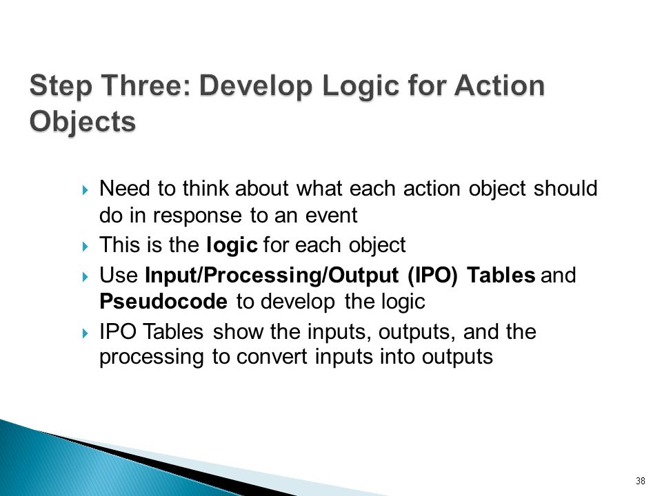 Step Three: Develop Logic for Action Objects