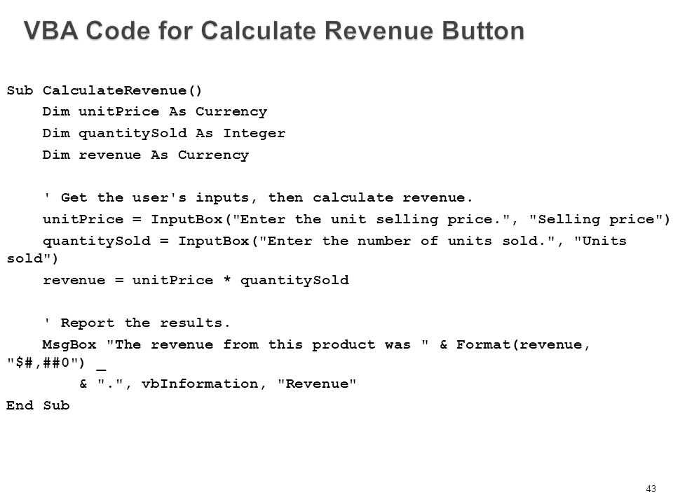 VBA Code for Calculate Revenue Button