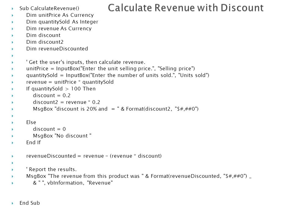 Calculate Revenue with Discount
