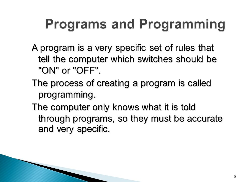 Programs and Programming