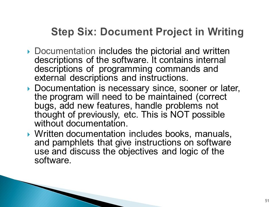 Step Six: Document Project in Writing