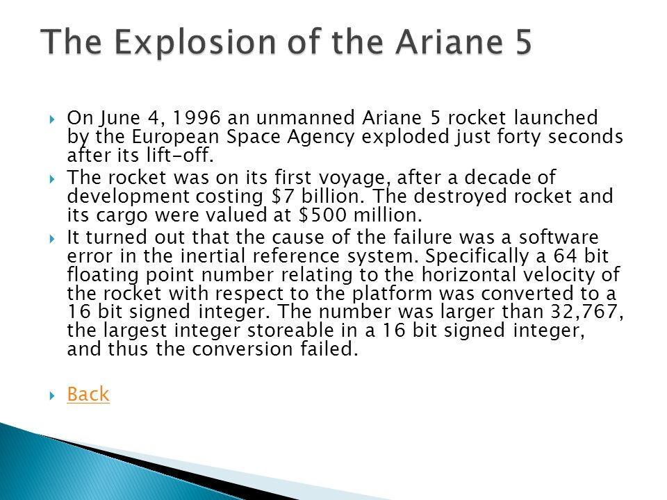 The Explosion of the Ariane 5