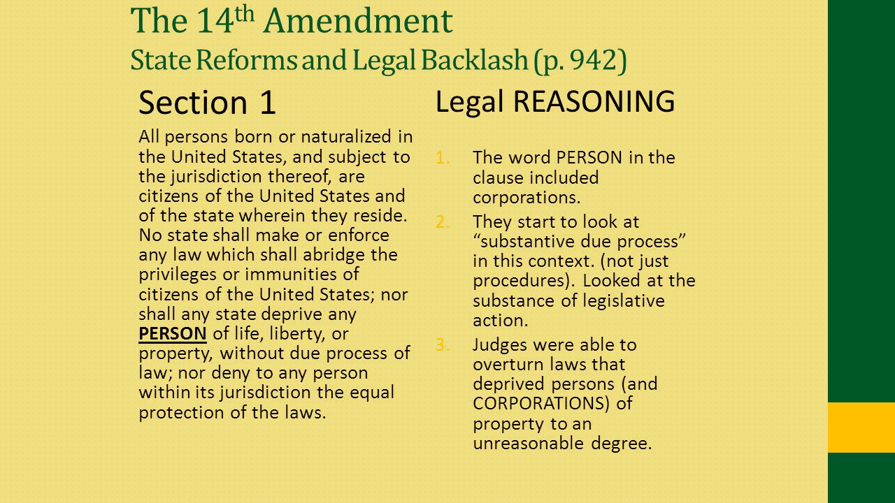 The 14th Amendment State Reforms and Legal Backlash (p. 942)