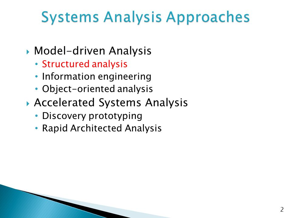 Systems Analysis Approaches