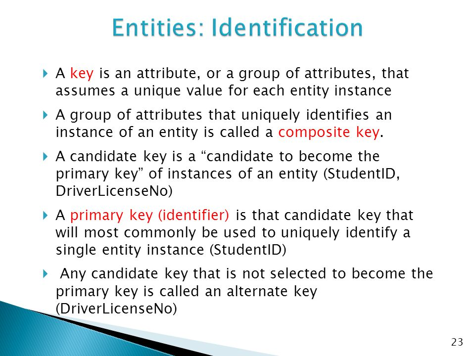 Entities: Identification