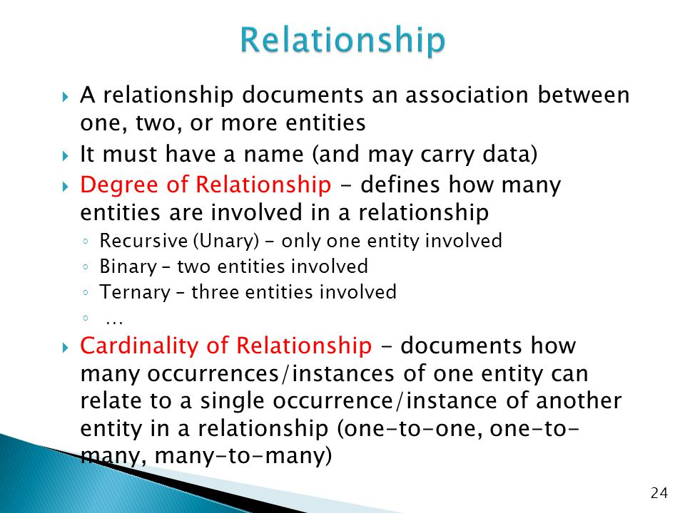 Relationship A relationship documents an association between one, two, or more entities. It must have a name (and may carry data)