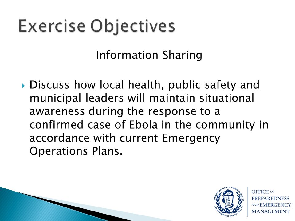 Exercise Objectives Information Sharing