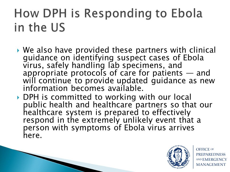 How DPH is Responding to Ebola in the US