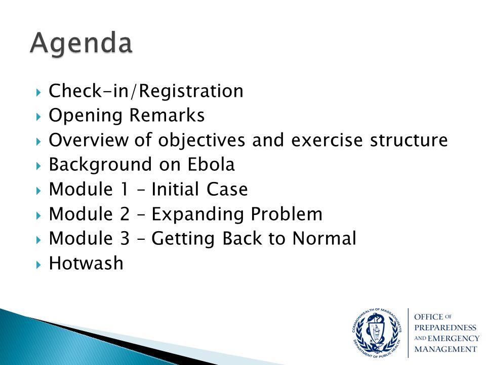 Agenda Check-in/Registration Opening Remarks