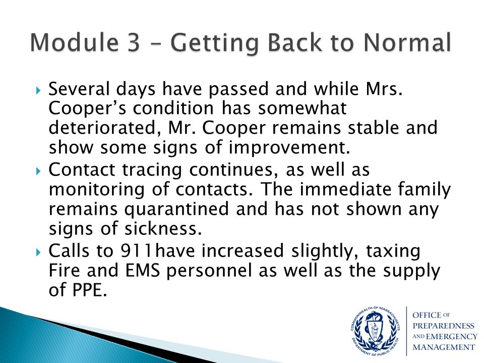 Module 3 – Getting Back to Normal