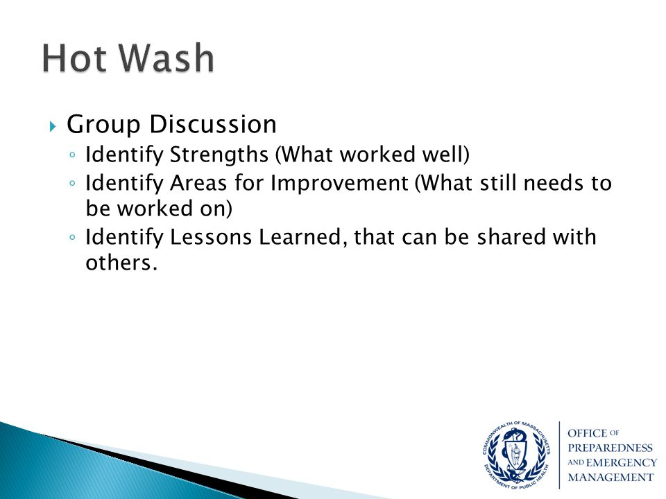 Hot Wash Group Discussion Identify Strengths (What worked well)