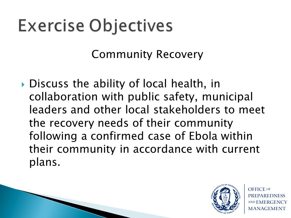 Exercise Objectives Community Recovery