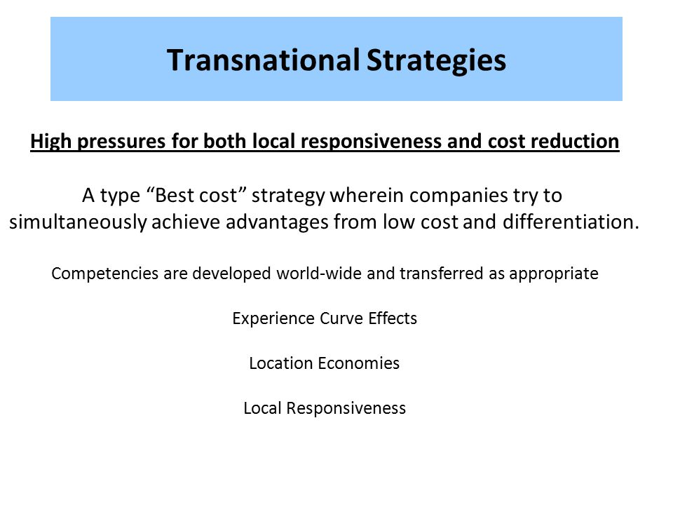 Transnational Strategies