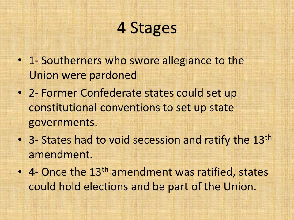 4 Stages 1- Southerners who swore allegiance to the Union were pardoned.