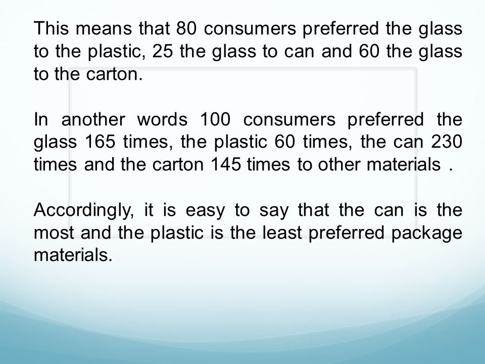 This means that 80 consumers preferred the glass to the plastic, 25 the glass to can and 60 the glass to the carton.