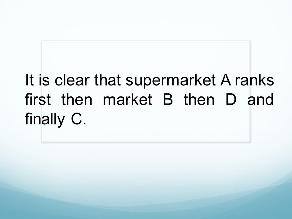 It is clear that supermarket A ranks first then market B then D and finally C.