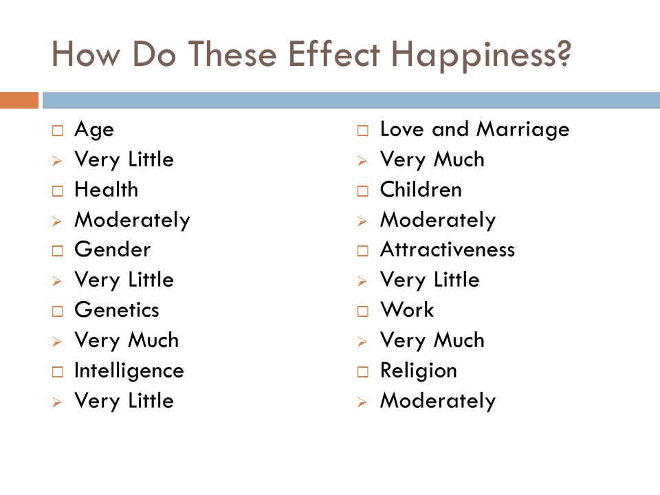 How Do These Effect Happiness
