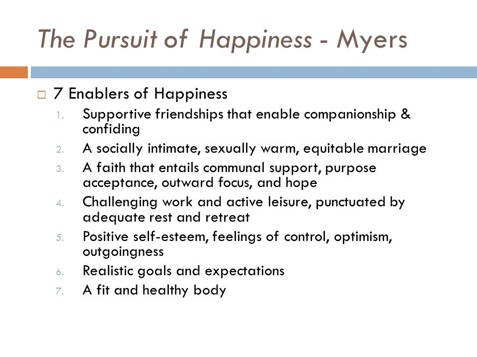 The Pursuit of Happiness - Myers