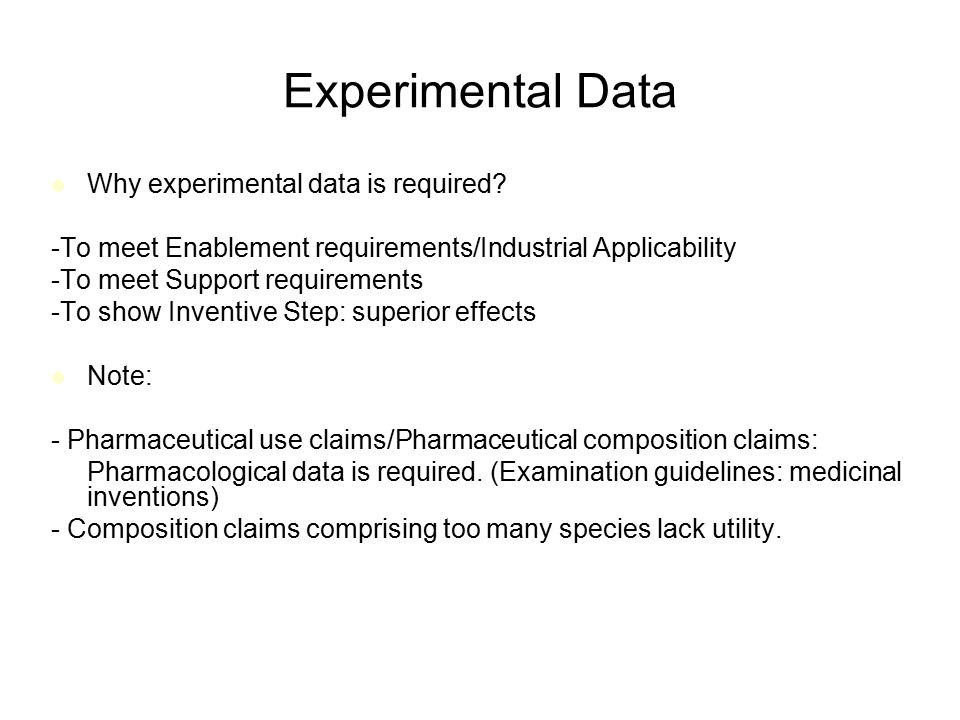 Experimental Data Why experimental data is required