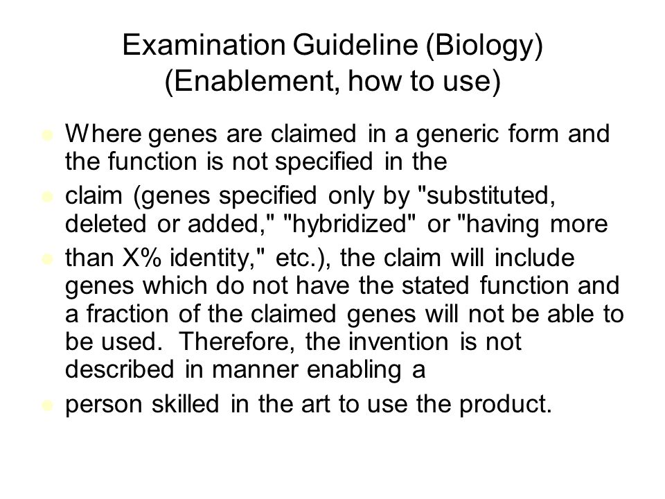 Examination Guideline (Biology) (Enablement, how to use)